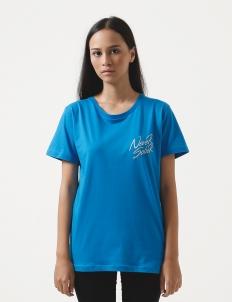 Never Sober Logo Basic T-shirt (Bright Blue)