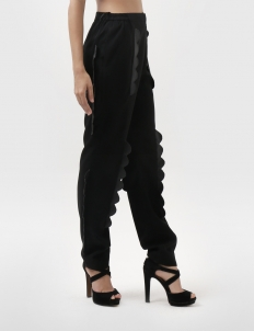 Leather Scallop Gabardine Trousers