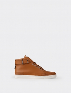 Lion Tan Perforated High Top Sneakers