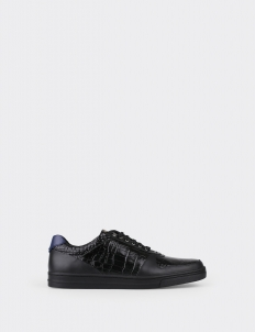 Black Croc Velvet Low Top Sneakers