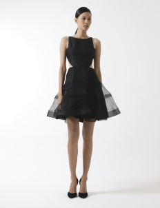 Black Side Cutout Dress with Organza Circle Skirt