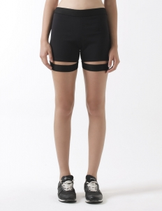 Bicycle Shorts with Cut-out Elastic Detail
