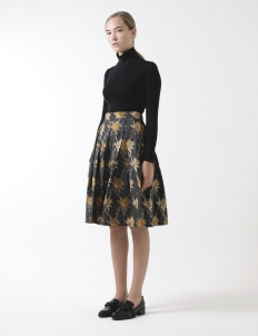 Gold Rush Pleated Dark Blue Skirt