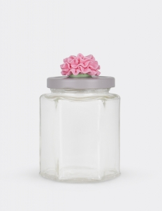 Hexagonal Jar Grey With Pink Flower On Top