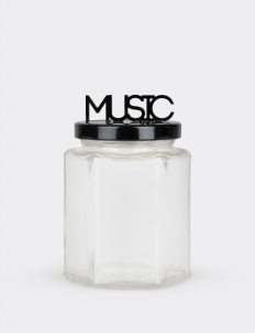 Hexagonal Jar Black With Music Wording