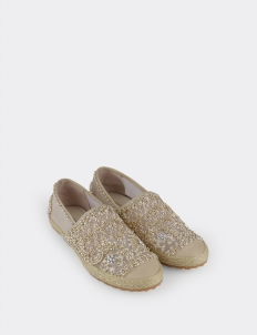 Penara Embroidery Espadrilles In Shell & Gold