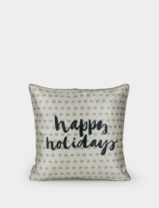 Happy Holidays Black Cushion Cover