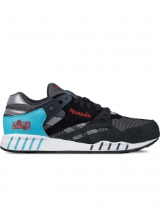 Gravel/Black/Neon Blue/Poppy Red/White Sole-Trainer Sneakers