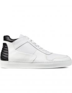White Vesta Pebblegrain Mid Top Sneakers