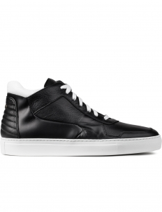 Black Vesta Pebblegrain White Calf Mid Top Sneakers