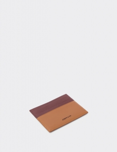 Up Down Teak Brown & Tan Card Holder
