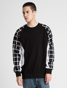 Black Tech Grid Crewneck