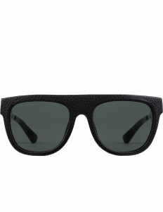 Black Leather Wrap with Dark Grey Lens Gil Sunglasses