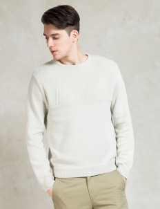 White Everyday Mesh Block Sweater