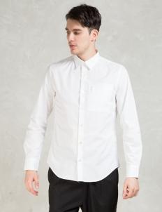White Powell Poplin Zip Pocket Slim Shirt