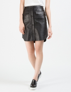 Black Leather Button Down Skirt