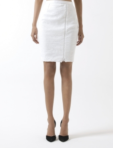 Sean & Sheila White Asymetrical Skirt With Side Zipper