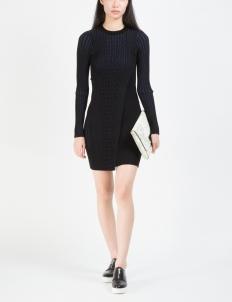 Black Multi Chain Stripe L/S Dress