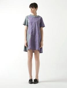 Gelombang Pesisir Green Purple Collar Detail Dress