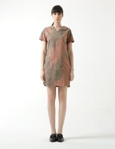 Lereng Warna Brown Purple V Neck Dress