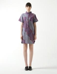 Lereng Warna Purple Blue Shirt Dress