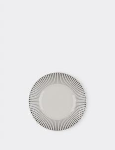 Set of 4 Dinner Plate Zebra Rim White