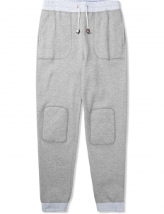 Heather Grey Woven Contrast Sweatpants