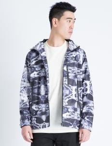 Black Aqua Print Shell Jacket
