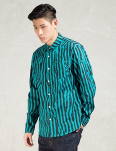 Turquoise Off Stripe Shirt