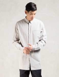 Grey L/S Elongated Button Down Shirt