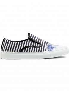 Pinstripe Blue Achilles Satin Base Pumps Sneakers