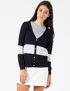 Classic Navy Shirting Panel V-neck Cardigan
