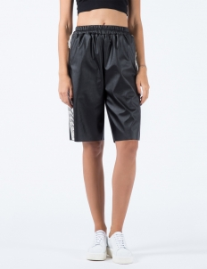 Black Chain Motif Laser Cutting Sweat Short Pants