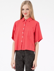 Hot Red Batiste Cropped Button Up Shirt