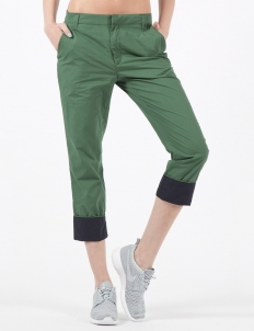 Army Green Flat Front Pants with Contrast Cuff