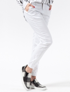White Hanna Stretch Twill Jogger Pants