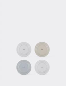Enameled White Blue Crème Dinner Plate Set