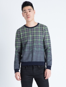 Multicolor Melting Plaid Crewneck Sweater