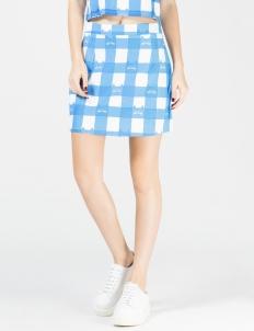 Blue Cat Gingham A-Line Skirt