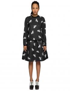 Black Pattern Print Middle Skirt