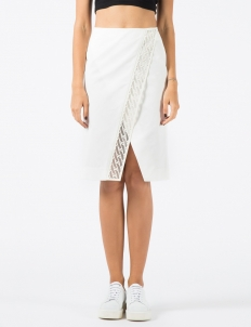 White Chain Laser Cutting Straight Skirt