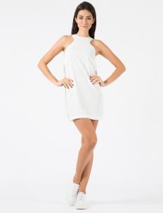 White Chain Motif Hot-Melt Halter Neck Dress
