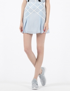 Denim Lattice Mini Skirt with Suspenders