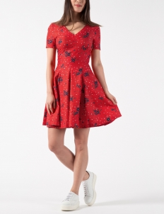 Red SS Fitted Mini Dress With Full Skirt