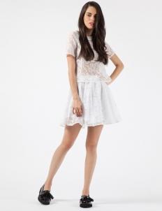 White Cracked Crystal Mini Skirt