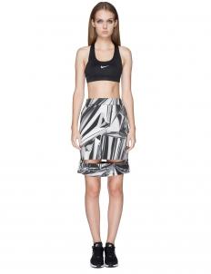 White/Multi Printing Emboss Slach Skirt