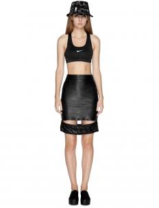 Black Emboss Slach Skirt