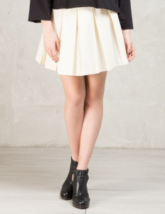 Beige Solid Pleated Gabardine Skirt