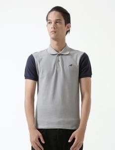 Grey Navy Clayton Polo Cotton Top