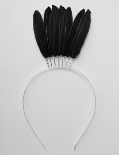 Black Stone Feather Tiara
